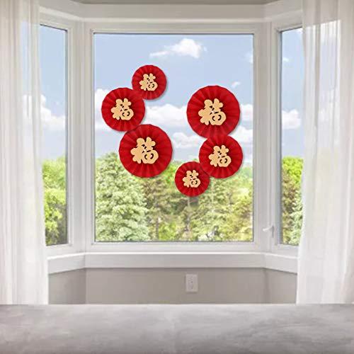 NAIXUE Feiern Sie Das Jahr 2021 des Ochsen, Chinesisches Neujahr, 1 Satz Papierfächer-Blumensegen des Neuen Jahres 6 Packungen, Inneneinrichtung