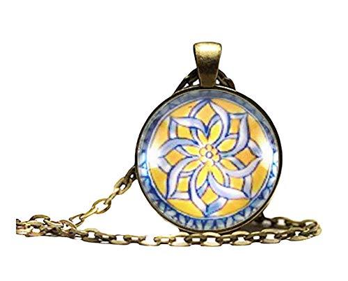 Sunshine Collar arabesco, caleidoscopio marroquí, Detalles de Azulejos españoles Azules y Amarillos, Arte Abstracto, símbolo de Amistad