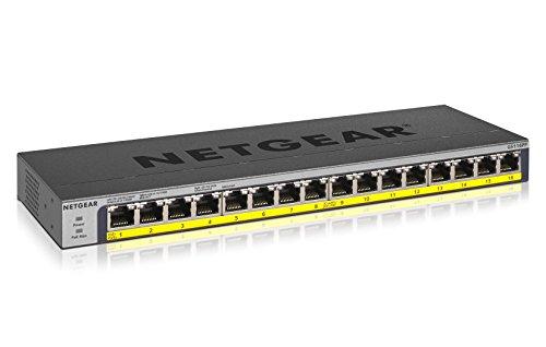Netgear GS116PP 16-Port Gigabit Ethernet LAN PoE Switch Unmanaged (mit 16x PoE+ 183W erweiterbar, Desktop- oder Rack-Montage mit ProSAFE Lifetime-Garantie)