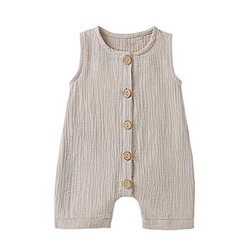 Infant Newborn Baby Boys Girls Cotton Linen Romper Summer Jumpsuit Sleeveless Overalls Clothing Set  Grey 12-18 Months