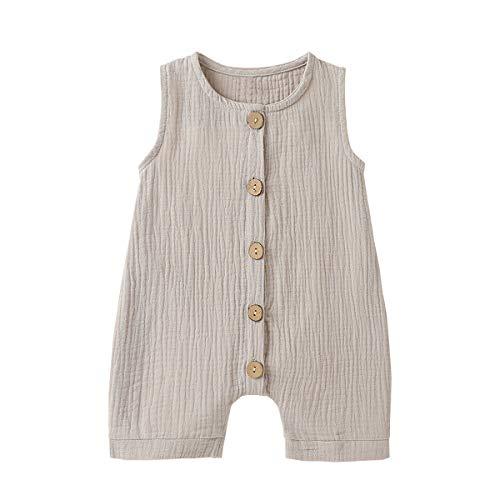 Infant Newborn Baby Boys Girls Cotton Linen Romper Summer Jumpsuit Sleeveless Overalls Clothing Set (Grey, 6-12 Months)