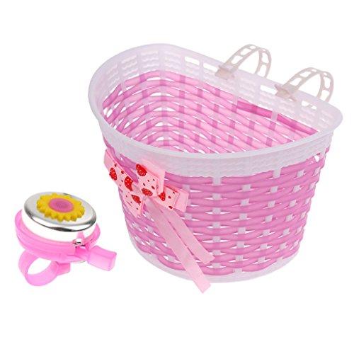 T TOOYFUL Universal Fahrradklingel Und Korb für Kinder Jungen Mädchen Pink Dekoration für Kinder Fahrrad Roller Dreirad, Lenker Sicherheitsalarm Einf