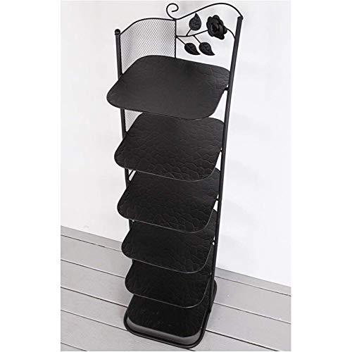 JISHIYU Limitar Zapato Metal Bastidores Ahorrar Espacio for el balcón Entrada de la Esquina Puerta de Entrada de Nivel 6 apilable Estante (Color : Negro)