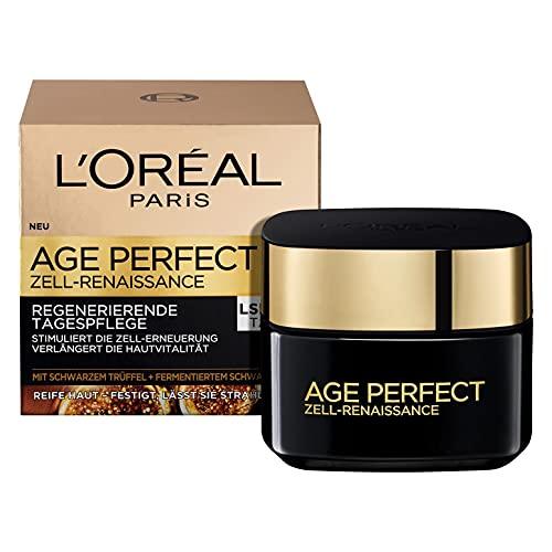 L'Oréal Paris Tagespflege, Age Perfect Zell Renaissance, Anti-Aging Gesichtspflege, Kraft und Vitalität, Für reife Haut, Mit schwarzem Trüffel und fermentiertem...