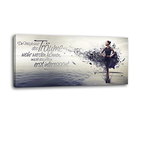 Dalinda® XXL-Wandbild Leinwandbild mit Spruch Träume. 100x40cm Keilrahmenbild Kunstdruck Wandbild Panorama Leinwandbild LS038