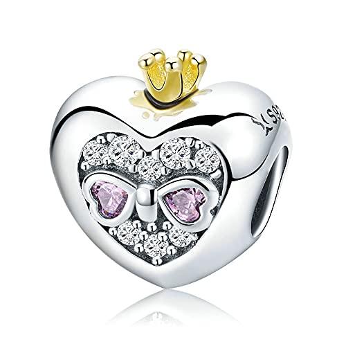 DFHTR Romántico 925 Plata Esterlina Princesa Corona Rosa Corazón Cuentas para Mujeres Pulseras Y Brazaletes Collar DIY Fabricación De Joyas
