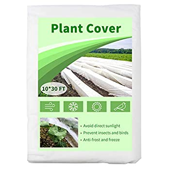 Mhonniwa Plant Covers Freeze Protection Floating Row Cover 10X30 FT 1.0 oz/yd² Non-Woven Frost Blankets for Outdoor Plants