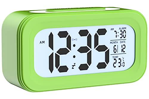 UNIAI [Upgrade Version] Sveglia a Pile - Sveglie da Comodino elettroniche Smart Travel Battery Clock Ampio Display LCD per la visualizzazione del Calendario