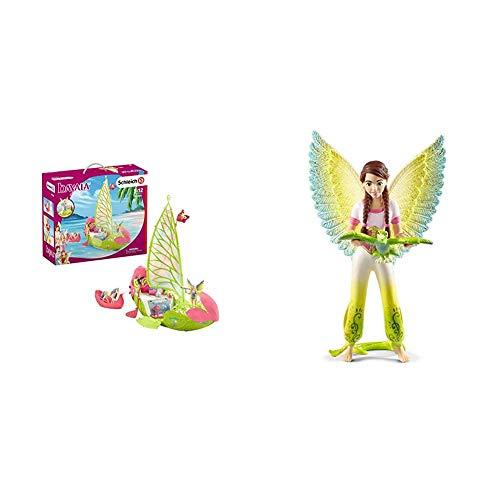 Schleich 42444 bayala Spielset - Seras magisches Blütenboot, Spielzeug ab 5 Jahren & 70584 bayala Spielset - Movie Surah mit Papagei Kuack, Spielzeug ab 5 Jahren