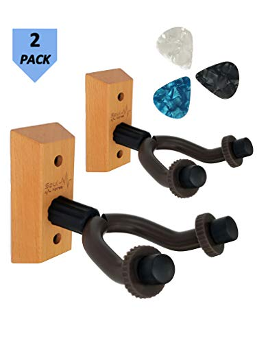Guitar Hanger Wall Mount 2 pack - Easy to install guitar wall mount - Electric/acoustic/bass guitar wall hanger - Guitar wall hook for string instruments - Wood guitar holder - Aesthetic guitar mount
