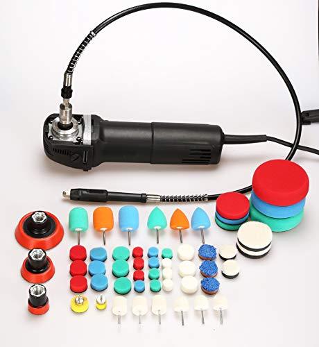 SHIJING Mini polijstmachine voor de auto, roterende polijstmachine, RO polijstmachine, auto-detailering, super polisch, met 58 stuks polijstschijf, mix, size kit