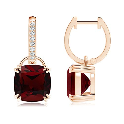 January Birthstone - Cushion Garnet Drop Earrings with Diamond Accents in 14K Rose Gold (9mm Garnet)