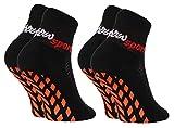 Rainbow Socks - Jungen Mädchen Neon Sneaker Sport Stoppersocken - 2 Paar - Schwarz - Größen: EU 30-35