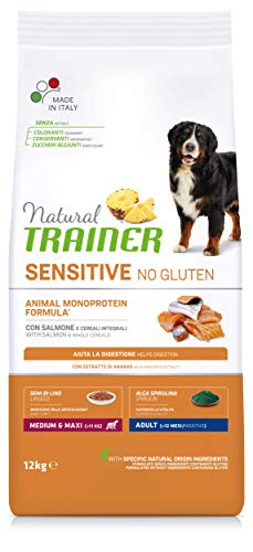 Natural Trainer Sensitive No Gluten - Cibo per Cani Medium&MaxiAdult con Salmone e Cereali Integrali 12kg