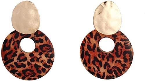 Gymqian Ladies Handmade Earrings Print Wood Earrings Gold Fold Metal Stud Jewelry Women Exquisite