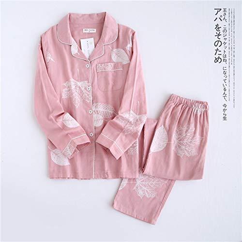 Pijamas Conjunto De Pijama De Hoja De Arce Fresco para Mujer 100% Gasa De Algodón De Manga Larga Ropa De Dormir Informal Pijama De Mujer M Tzleavespink