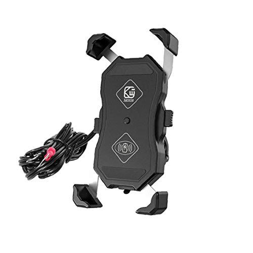 Teléfono Inalámbrico Titular de carga del cargador de la motocicleta Soporte cargador de carga rápida USB 15W para el teléfono móvil de la motocicleta Negro