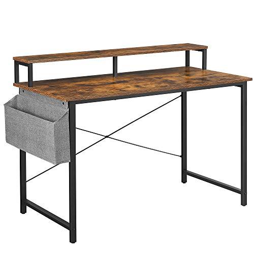 VASAGLE Schreibtisch, Computertisch mit Monitorständer, Aufbewahrungstasche, verstellbare Füße, Industrie-Design, 120 x 60 x 90 cm, für Homeoffice, vintagebraun-schwarz LWD082B01