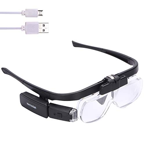 YOCTOSUN Rechargeable Head Magnifier Glasses, Hands Free Head Mount Magnifier with 3 Detachable Lenses and 2 LED Lights, Great Magnifying Glasses for Reading and Hobby