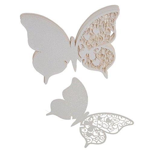 50pcs Tarjeta de Copa Vaso Forma Mariposa Blanco para Navidad Fiesta Boda