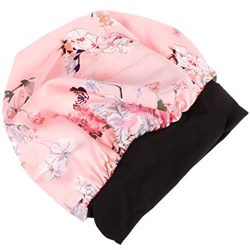 PRETYZOOM Sleep Night Cap Flower Satin de Soie Large Band Bonnet Night Soft Hair Turbans Cover for Women Hair Beauty Hair Care Cap (Pink)