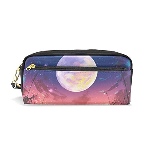 KKLDOGS Huge Moon at Beautiful Night Pencil Case Leather Makeup Bag Stationery Pen Bag Travel Small Cosmetic Bag