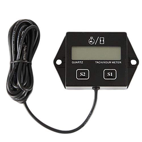 WY-YAN Motor a Prueba de Agua medidor de Velocidad LCD tacómetro Digital de visualización de cronógrafo electrónica de la lancha tacómetro del Motor (Color : Black)