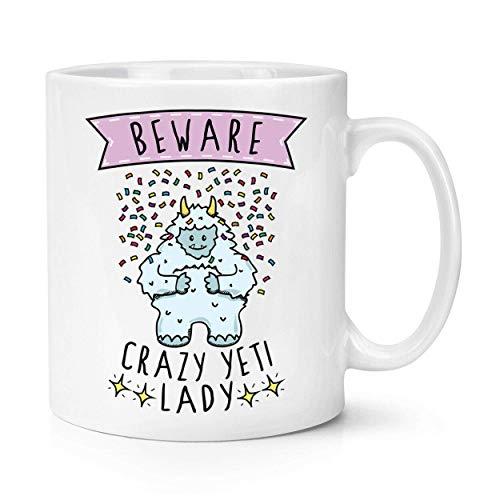N\A Beware Crazy Yeti - Taza de 284 ml para Mujer - Funny Monster