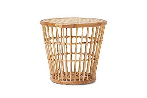 HOMEXPERTS Beistelltisch HAWAII / Deko-Tisch aus Rattan naturfarben / Couchtisch / Abagetisch / kleiner Sofatisch / 45 x 50 cm (HxD)