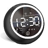 Radiowecker Bluetooth 5.0 Lautsprecher Digitaler Wecker Tischuhr - Dual-Alarm | Dimmbares LED Licht | FM Radio | USB Anschluss | Temperaturanzeige | Snooze (schwarz weiß) by Urmagic