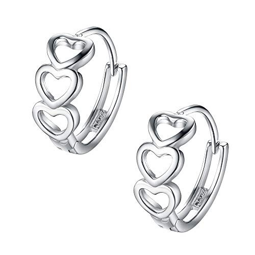 Treble Love Heart Tiny Small Hoop Earrings for Women Girls Cartilage Sterling Silver Cute Cuff Sleepers Dainty Hoops Huggie Jewelry Birthday Valentine Christmas Delicate Gifts for Best Friend Brides