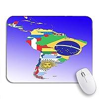 ROSECNY 可愛いマウスパッド 地図記号ラテンアメリカ南ミドルアウトラインとフラグノートマウスマット用滑り止めゴムバッキングコンピューターマウスパッド