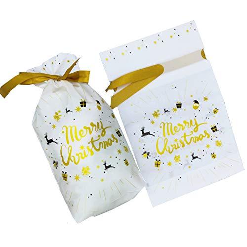 Nuluxi Bolsitas de Regalo Navidad Plástico con Cordón Reutilizable Bolsa de Dulces Navidad con Cordón Set de Bolsas Reutilizables para Caramelos Dulce Galletas (Feliz Navidad)