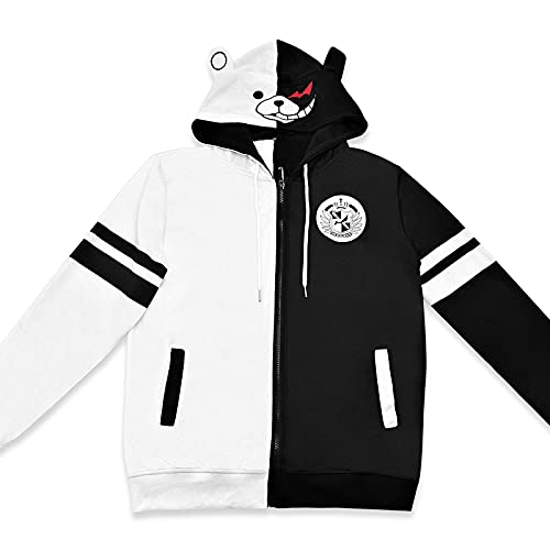 TIMSOPHIA Monokuma Jacke Hoodie Anime Pullover Schwarz Weiß Bär Kapuzen Sweatshirt Manga Cosplay Unisex (M)