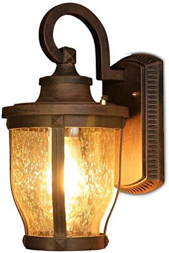 Lámpara de pared a prueba de polvo a prueba de agu Linterna externa Linterna de linterna Powered E27 Impermeable Vintage Montaje de pared Sconco de vidrio de aluminio Lámpara de seguridad al aire libr