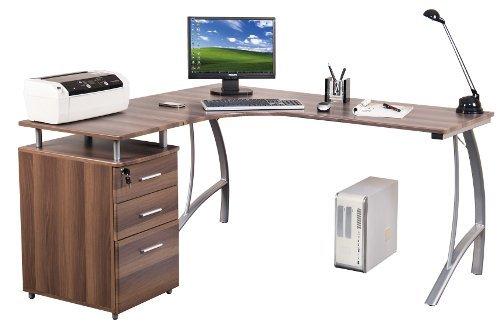 hjh OFFICE Eckschreibtisch Castor mit Stand-Container Walnuss/Silber