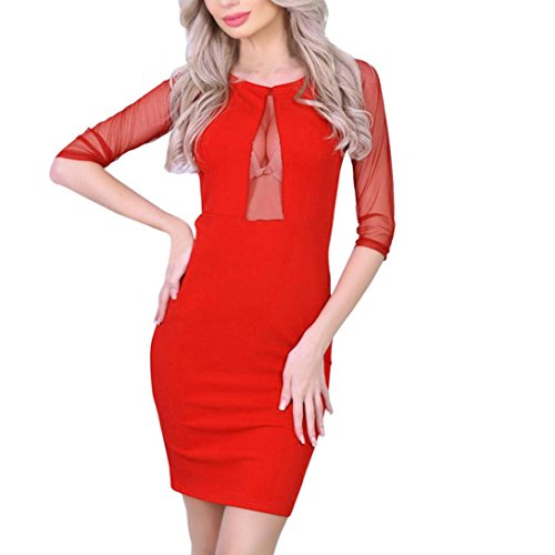 Hirolan Spitzenkleid Mode Damen Bodycon Kleid Verein Perspektive Minikleid Babydoll Frau Vintage...