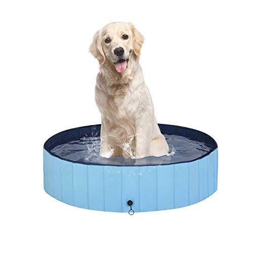 Dogs Swimming Pool Pets Bathtub Baby Pool Foldable PVC Pool for Dogs, Friendly Environment Pet Swimming Pool Bath Tub for Animals Water Playing Swimming Pool for Kiddy Dogs Cats(100x30Cm,Blue)