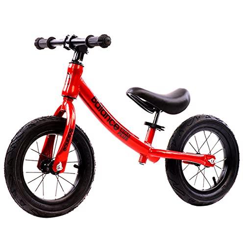 COSCANA 12'Balance De Balance De Bicicleta De Acero De Titanio, Sin Pedal De Bicicleta De Entrenamiento con Asiento Ajustable Y Neumáticos De Aire para Niños De 2 A 6 Años De Edad(Color:Rojo)