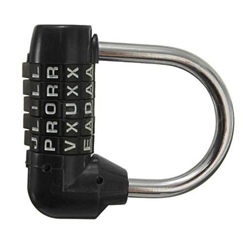 uyhghjhb Alfabeto inglés Contraseña Bloqueo de Bloqueo Código de 5 Letras Palabra combinada Marcar contraseña Equipaje Bolsa Candado Negro