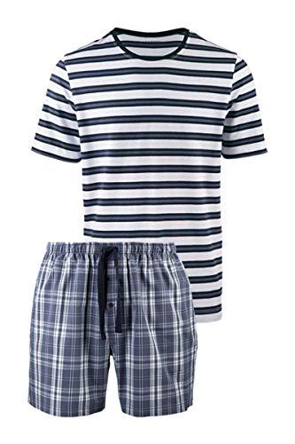 Livergy Herren Sommer Pyjama Shorty Schlafanzug Kurz 2Teiler Streifen L 52-54