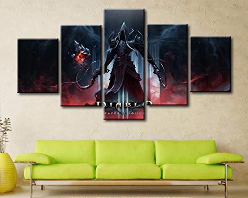 5 Panel Leinwand Gedruckt Spiel Poster Diablo 3 Reaper Of Souls Wohnkultur Für Wohnzimmer Wandkunst Leinwand Malerei Bilder Kunstwerk(size 2)