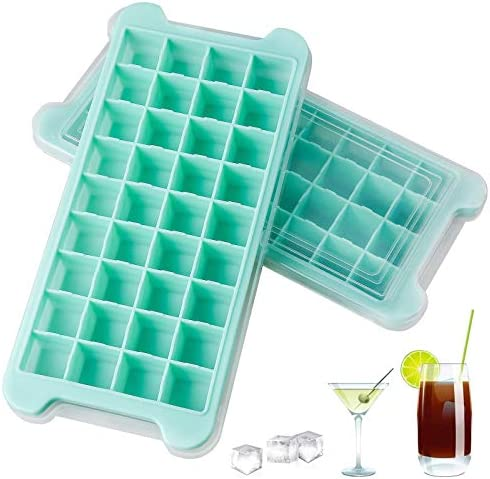 2 PCS New Upgrade Ice Cube Trays AUSSUA Premium Silicone Ice Cube Molds with Lid Flexible 72 product image