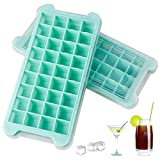 2 PCS New Upgrade Ice Cube Trays, AUSSUA Premium Silicone Ice Cube Molds with Lid, Flexible 72-Ice Trays BPA Free, for Chilled Drinks, Whiskey, Cocktail, Food, Reusable Safe Square Ice Cube Mold