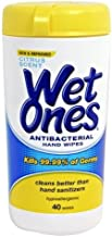 Wet Ones Antibacterial Hand Wipes, Hypoallergenic, Citrus Scent 40 Count Canister (Pack of 4)
