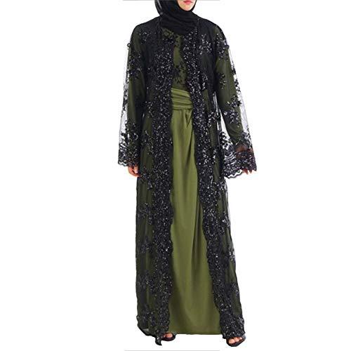 Vrouwen moslimen cardigan maxi-jurk van kant met pailletten kimono open jurk kaftan Dubai lang casual