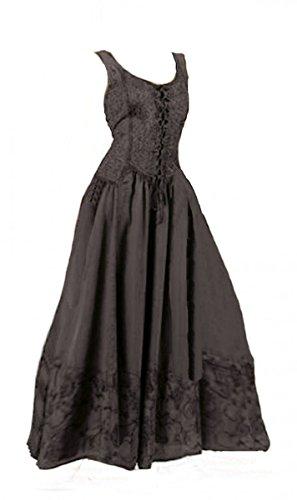 Dark Dreams Kleid Mittelalter Gothic Schnürung Audry schwarz rot grün braun weiß 36 38 40 42 44 46, Farbe:schwarz, Größe:XXL