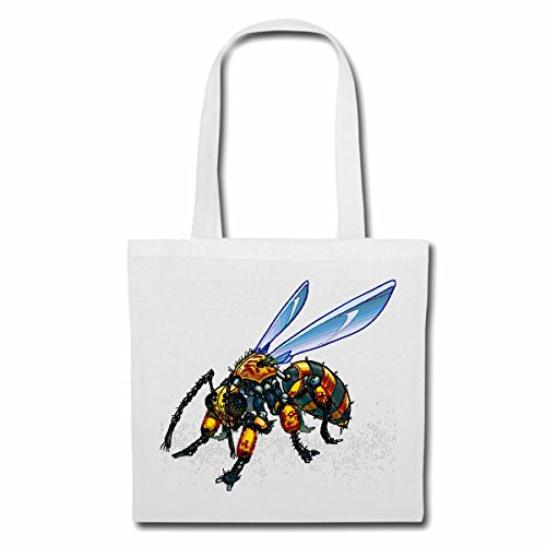 Tasche Umhängetasche Elegante Biene WESPE Honig FALTENWESPEN HORNISSE Einkaufstasche Schulbeutel Turnbeutel in Weiß