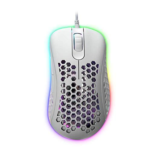 EQEOVGA D10 RGB leichte Gaming-Maus zellulare Maus 10000 DPI PMW3325 optischer Sensor,Ultraleichtes und ultrageflochtenes Kabel mit Leichter Wabenschale (65G) -weiß
