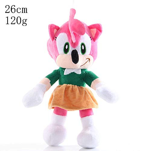HHtoy 26cm Amy Rose Figura de la Felpa Juguetes Sonic The Hedgehog Anime Figuras Relleno Suave muñeca 3+ niños cumpleaños